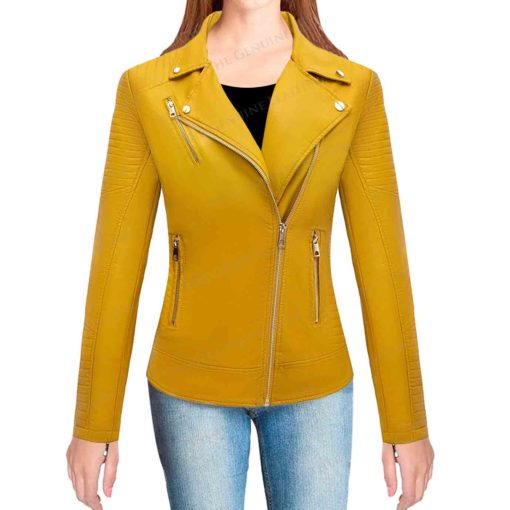 Bellivera Yellow Womens Leather Jacket