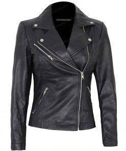 Decrum Women Black Leather Jacket