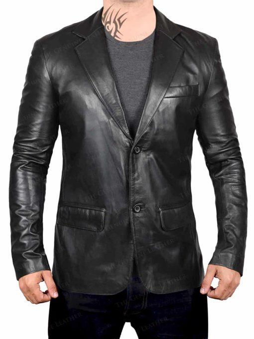 Black Blingsoul Distressed Leather Coat