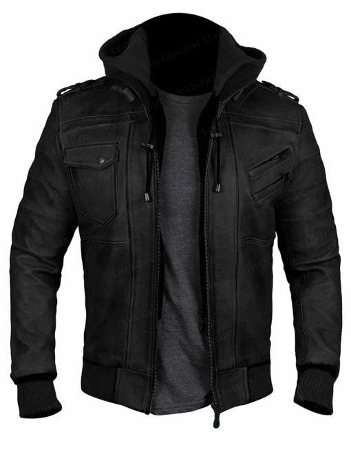 Black Hood Bomber Leather Jacket