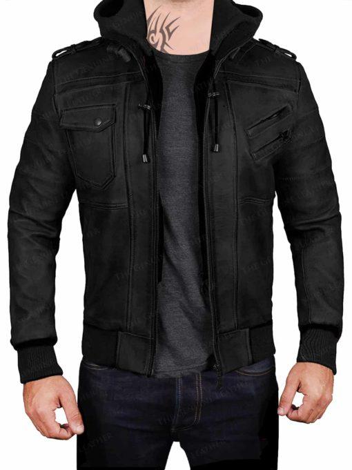 Black Hood Removable Leather Jacket