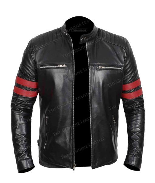 Black Bomber Quilted Leather Jacket