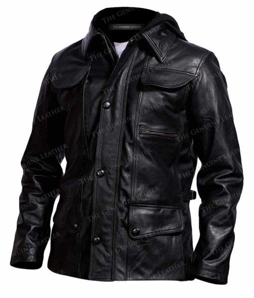 Men's Removable Hood Leather Jacket