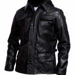 Mens Edinburgh Biker Black Leather Jacket