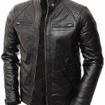 Black Shoulder Lambskin Leather Jacket
