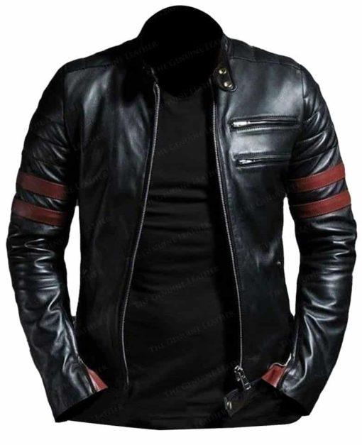 Black Slim Motorcycle Leather Jacket