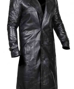 Black Trench Distressed Leather Coat