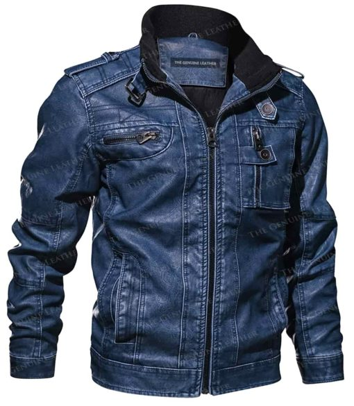 Mens Denim Blue Leather Jacket for Men