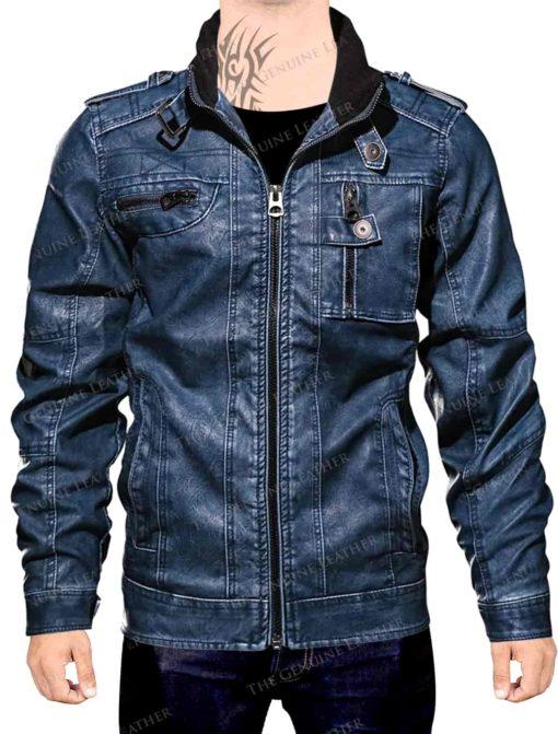 Blue Sleeves Leather Jacket