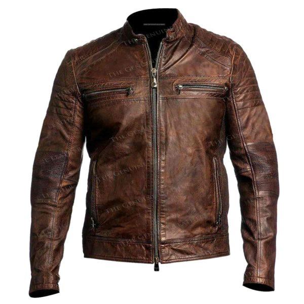 Brown Vintage Cafe Leather Jacket