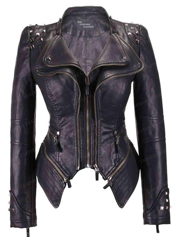 Chouyatou Fashion Shaping Women Leather Jacket
