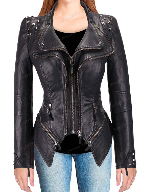 footwear well known cheapest Womens Fashion Black Studded Perfectly Shaping Leather Jacket