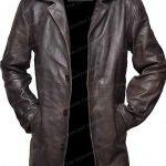 Dark Brown Distressed Leather Jacket