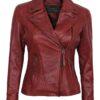 Decrum Women Red Leather Jacket