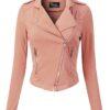Design Olivia Pink Women Sleeve Leather Jacket