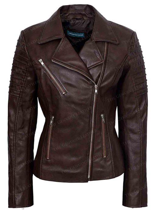 Women Brown Motorcycle Leather Jacket
