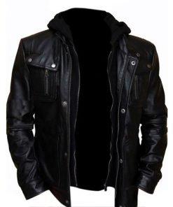 Brando Double Zip Slim Fit Leather Jacket