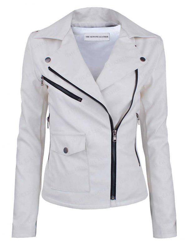 White TAM-WARE Asymmetrical Leather Jacket
