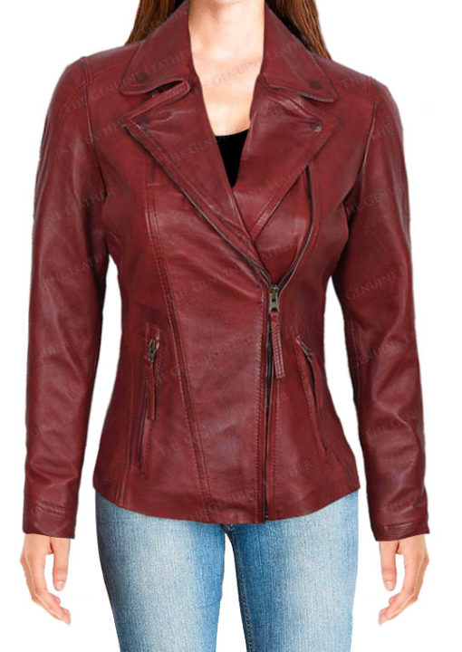 Red Decrum Leather Jacket