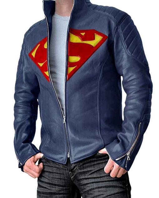 Superman Man Steel Blue Men Leater Jacket