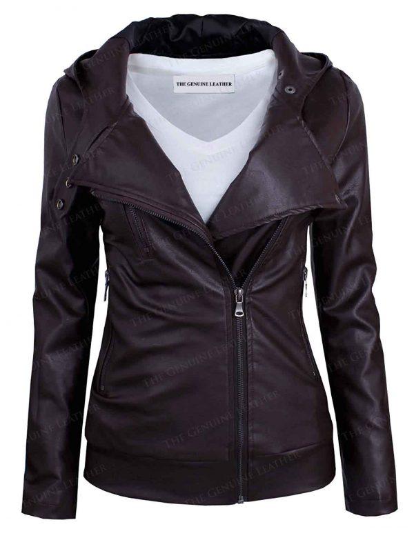 TAM WARE Asymmetrical Leather Jacket