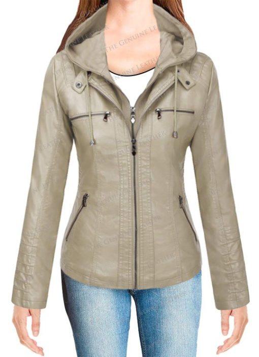 Tanming Hoodie Women Leather Jacket