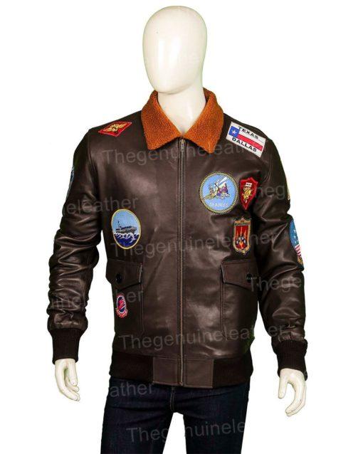 Top Gun Brown Leather Jacket