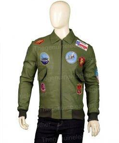 Top Gun Green Leather Jacket
