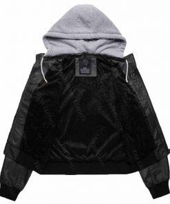 Womens Wnatdo Hooded Leather Jacket