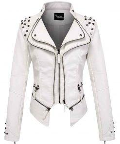 White Chouyatou Perfect Shaping Women Leather Jacket