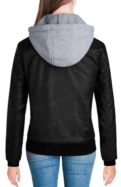 Hooded Women Leather Jacket