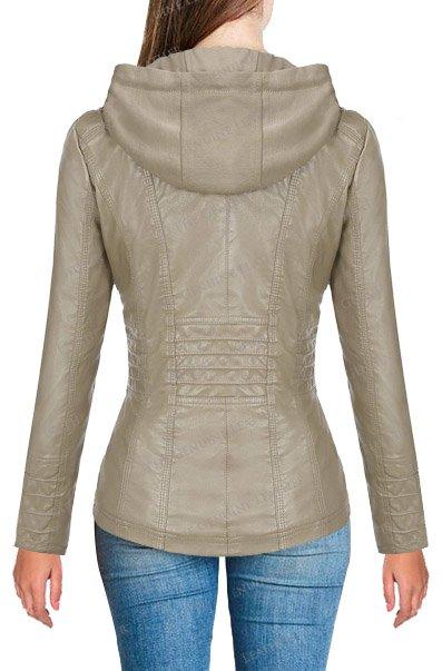 Womes Hoodie Leather Jacket