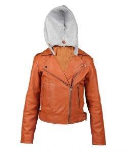 Women Orange Leather Hooded Jacket