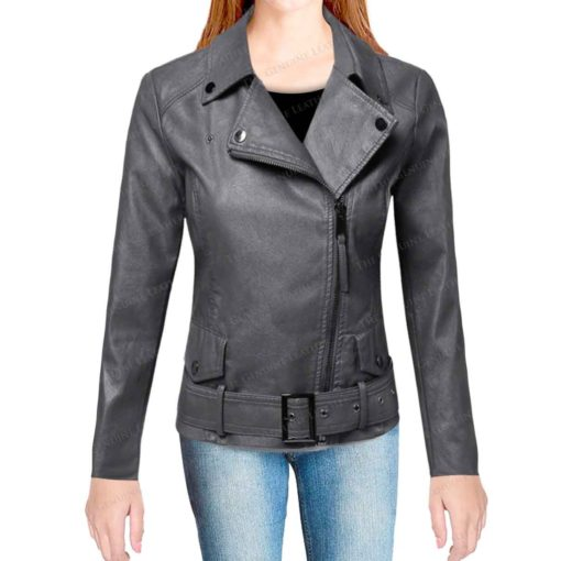 Casual Womens Motorcycle Leather Jacket