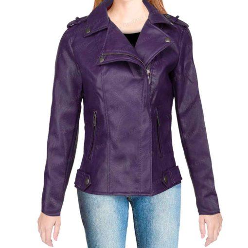 Purple Womens Leather Biker Jacket