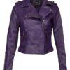 Purple Womens Biker Leather Jacket
