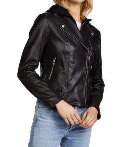 Katie Cassidy Women Leather Jacket