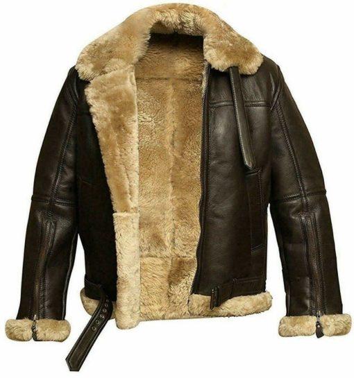 Mens Aviator FUR Bomber Leather Jacket