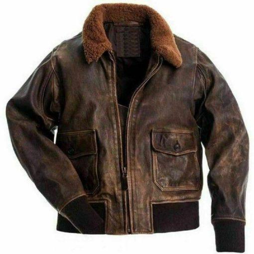 Mens Aviator G-1 Flight Jacket Real Brown Distressed Leather Bomber Jacket