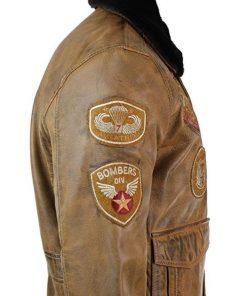 Aviator Mens Fur Brown Bomber Jacket