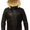 B3 Shearling Removable Hood Black Jacket