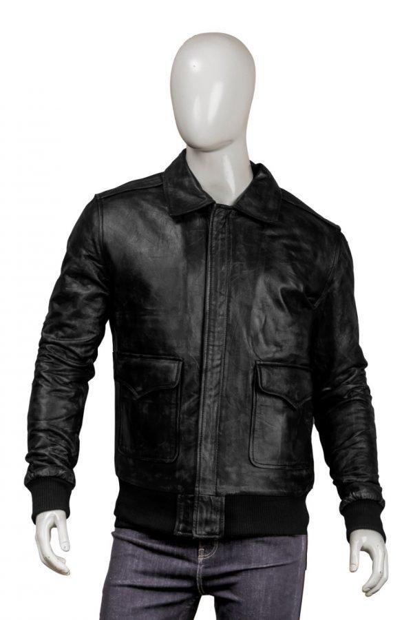 Black Bomber Real Leather Jacket