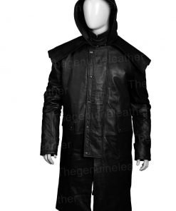 Horse Riding Stockman Black Leather Coat