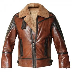 B3 Shearling Aviator Distressed Jacket