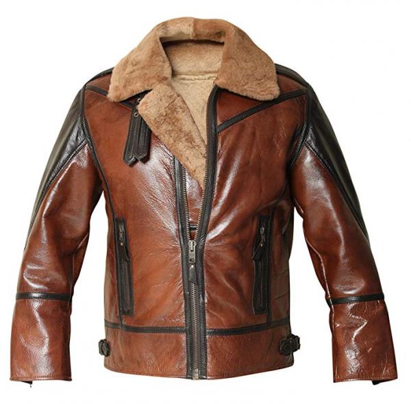 Mens B3 Shearling Aviator Distressed Jacket