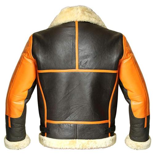 Mens B3 Shearling Sheepskin Orange Leather Jacket