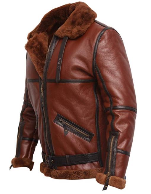 RAF British Shearling Aviator Brown Leather Jacket