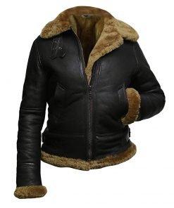 Womens Fur Aviator Flight Leather Jacket