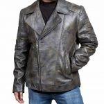 Brando Distressed Biker Black Leather Jacket