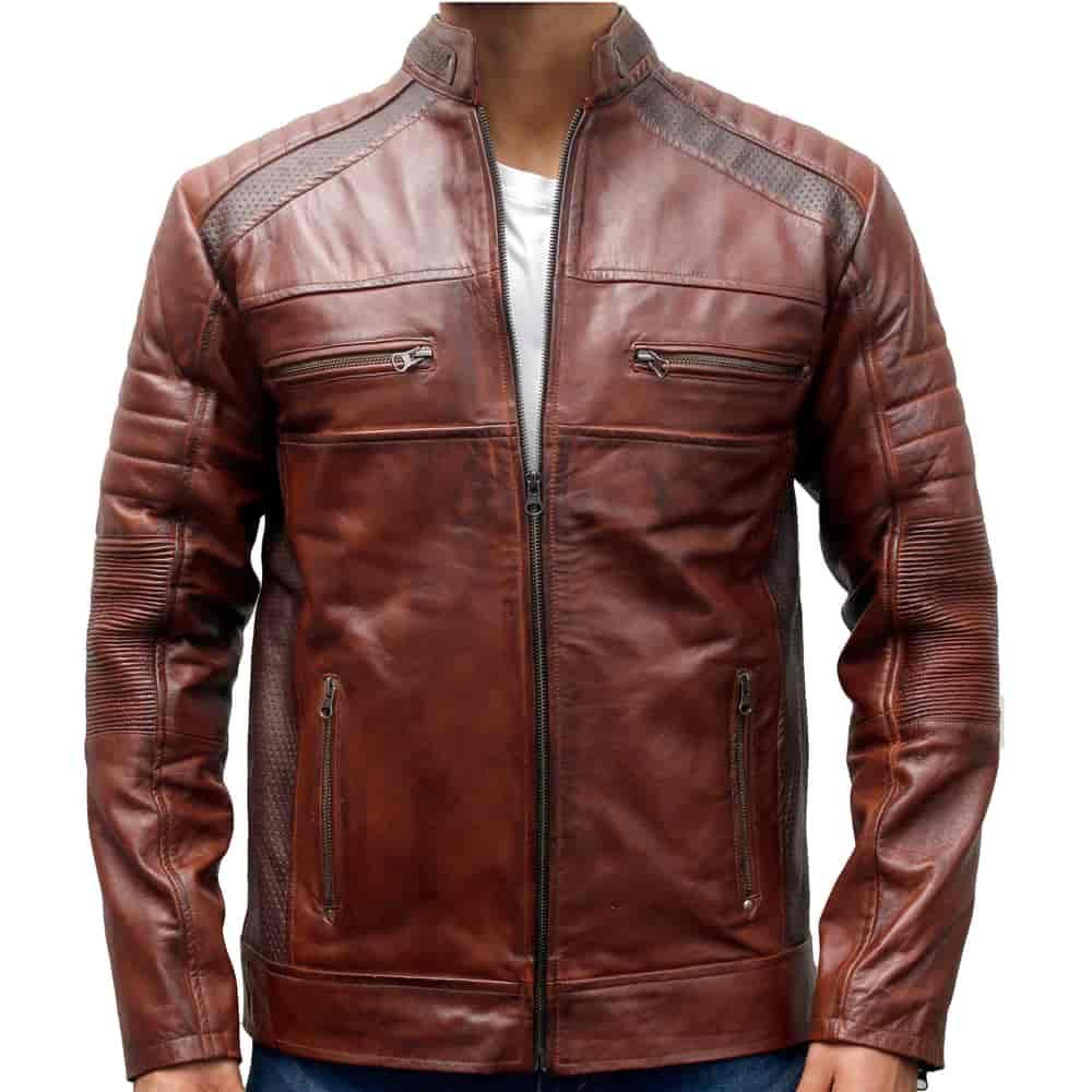Mens Biker Motorcycle Vintage Brown Pocket Cafe Racer Soft Real Leather Jacket